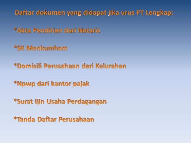 Daftar dokumen PT lengkap
